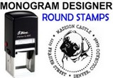 Round Address Monogram Stamps