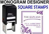 Square Address Monogram Stamps