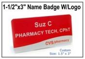 "Custom Engraved Name Badge w/Logo, Engraved Name Badge, 1.5"" x 3"""