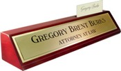 Rosewood Piano Finish Deskplate - Brushed Gold Name Plate with a Shiny Gold Border, Card Slot
