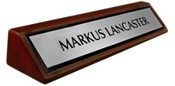 Rosewood Piano Finish Desk Plate - Brushed Silver Name Plate