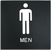 "Presto Black 8"" x 8"" Mens Restroom Ready Made ADA Sign"