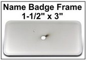 "1.5x3 Badge Frame Frame only Bright Silver Badge Frame, 1.5""x3"""