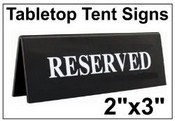 "2"" x 3"" Engraved Table Top Tent Sign