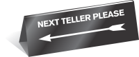 Next Teller - Arrow Table Top Tent Sign